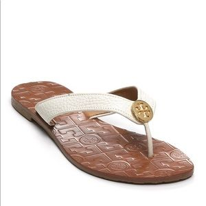 Cream Tory Burch Thora Flip Flop/ Sandal Size 8
